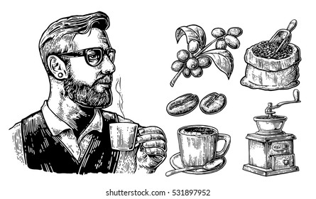 Hipster barista holding a cup of hot coffee. Sack with coffee beans with wooden scoop and beans, cup, branch with leaf and berry. Vintage engraving illustration. Isolated on white background.