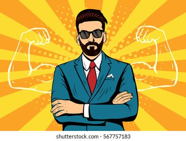 Hipster beard businessman with muscles currency dollar pop art retro style. Strong Businessman in glasses in comic style. Success concept illustration.