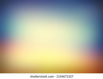 Hipster blue pink yellow vignette. Colored defocused texture. Blurred pattern. Natural ombre background. Spectral matte empty illustration. Vintage abstract template.
