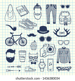 hipster doodle icons on cell sheet illustration. Camera and hairstyle, coffee sketchy, horns and arrow