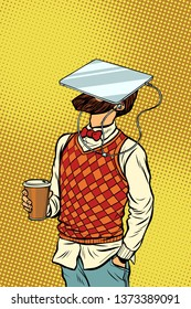 Hipster drinks coffee and watches tablet virtual reality. Pop art retro comics cartoon  illustration kitsch drawing