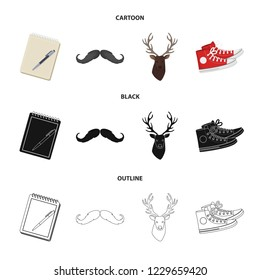 Hipster, fashion, style, subculture .Hipster style set collection icons in cartoon,black,outline style bitmap symbol stock illustration web.