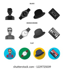 Hipster, fashion, style, subculture .Hipster style set collection icons in black, flat, monochrome style bitmap symbol stock illustration web.