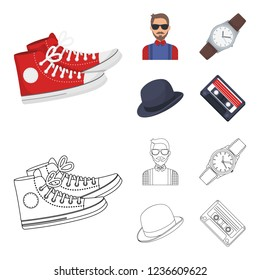 Hipster, fashion, style, subculture .Hipster style set collection icons in cartoon,outline style bitmap symbol stock illustration web.