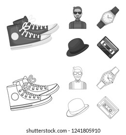 Hipster, fashion, style, subculture .Hipster style set collection icons in outline,monochrome style bitmap symbol stock illustration web.