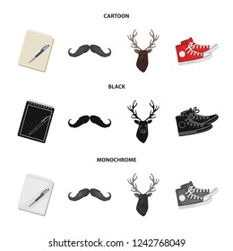 Hipster, fashion, style, subculture .Hipster style set collection icons in cartoon,black,monochrome style bitmap symbol stock illustration web.