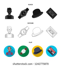Hipster, fashion, style, subculture .Hipster style set collection icons in black,flat,outline style bitmap symbol stock illustration web.