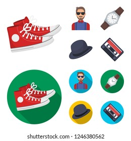 Hipster, fashion, style, subculture .Hipster style set collection icons in cartoon,flat style bitmap symbol stock illustration web.