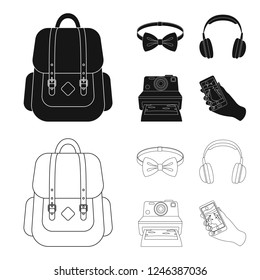 Hipster, fashion, style, subculture .Hipster style set collection icons in black,outline style bitmap symbol stock illustration web.