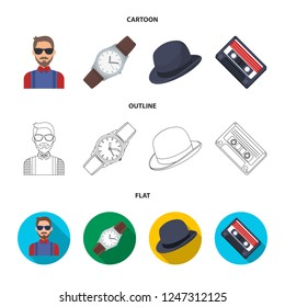 Hipster, fashion, style, subculture .Hipster style set collection icons in cartoon,outline,flat style bitmap symbol stock illustration web.