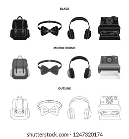 Hipster, fashion, style, subculture .Hipster style set collection icons in black,monochrome,outline style bitmap symbol stock illustration web.