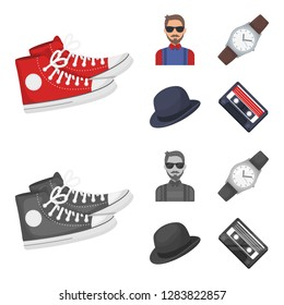 Hipster, fashion, style, subculture .Hipster style set collection icons in cartoon,monochrome style bitmap symbol stock illustration web.