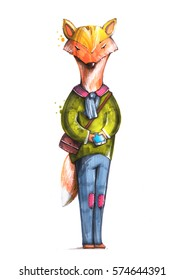 Hipster fox with smartphone. Sketch style illustration. Drawn by marker pen on the paper. White background. Anthropomorphic fox. Raster illustration