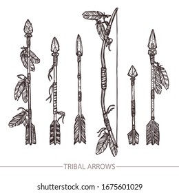 Hipster Hand Drawn Arrows. Indian Aroows And Bow Set