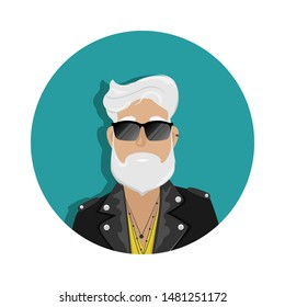 A hipster man with gray hair and a beard in a leather biker jacket and sunglasses. Subculture, fashion. Flat cartoon illustration