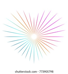 Hipster rainbow gradient design element - sunbeam, burst, starburst, rays in shape of heart.