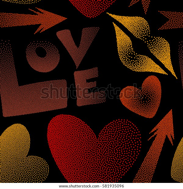 Hipster symbols of arrow, hearts, kissing lips, love text on a black. Good for cards, posters, wrapping paper. Hand drawn seamless pattern with XOXO in red, orange and yellow colors.