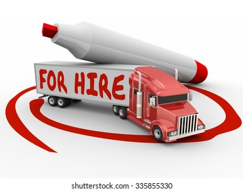 For Hire words written on truck with red marker as an owner operator or driver contractor