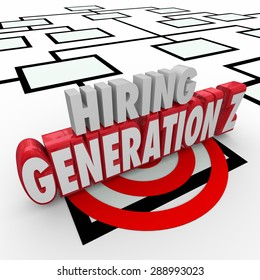 Hiring Generation Z words in 3d letters on an organization chart to illustrate finding young employees for your company or business