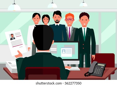Hiring recruiting interview. Look resume applicant employer. Hands Hold CV profile choose group business people. HR recruiting we are hiring. Candidate job position. Hire interviewer. Raster version