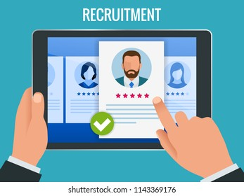 Hiring and recruitment concept for web page, banner, presentation. Job interview, recruitment agency illustration