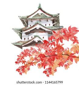 Hirosaki in autumn, Aomori, Japan at Hirosaki Castle. Hand drawn watercolor painting isolated on white background.