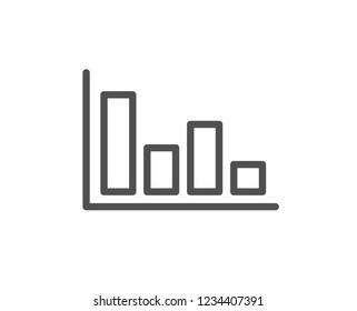 Histogram Column chart line icon. Financial graph sign. Stock exchange symbol. Business investment. Quality flat web app element. Line design Histogram icon.