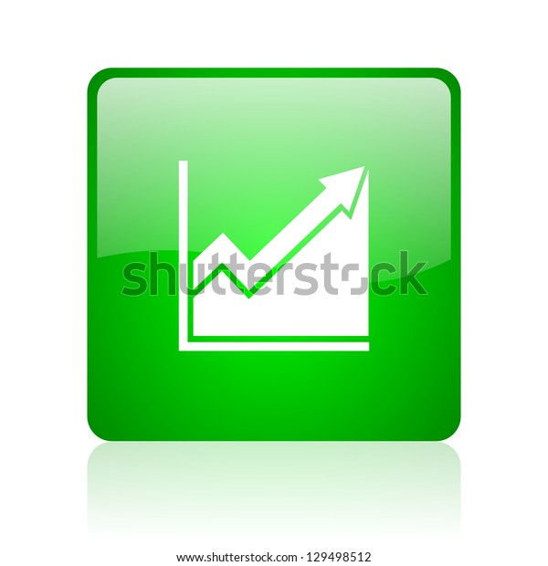 histogram green square web icon on white background
