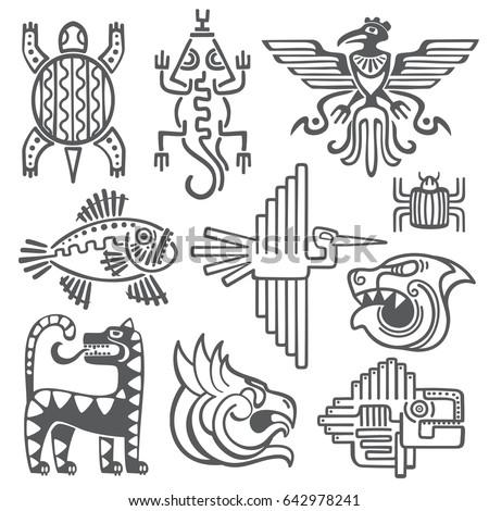 Historic Aztec Inca Symbols Mayan Temple Stock Illustration
