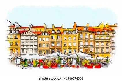 Historic Centre of Warsaw, Poland, Old Town Market Place, watercolor sketch illustration.