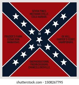 Historic Flag. US Civil War 1860's. Confederate Battle Flag. 16th North Carolina Infantry Regiment. (White border is part of flag design)