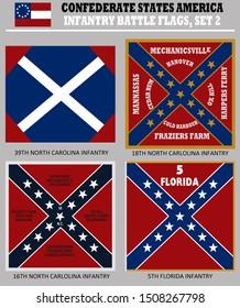 Historic Flag. US Civil War 1860's. Confederate Battle Flag set 1. Florida and Carolina Infantry Regiments.