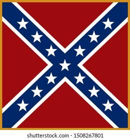 Historic Flag. US Civil War 1860's. Confederate Battle Flag.