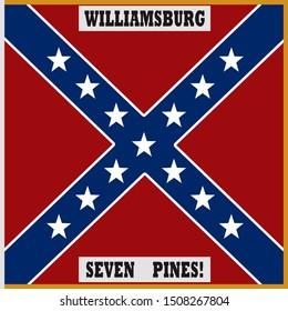 Historic Flag. US Civil War 1860's. Confederate Battle Flag. 4th North Carolina Infantry Regiment. (White border is part of flag design)