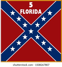 Historic Flag. US Civil War 1860's. Confederate Battle Flag. 5th Florida Infantry Regiment.