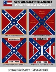 Historic Flag. US Civil War 1860's. Confederate Battle Flag set 1. Virginia and Carolina Infantry Regiments.