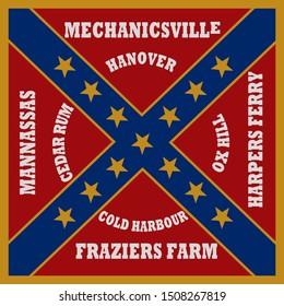 Historic Flag. US Civil War 1860's. Confederate Battle Flag. 18th North Carolina Infantry Regiment.