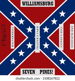 Historic Flag. US Civil War 1860's. Confederate Battle Flag. 6th South Carolina Infantry Regiment.