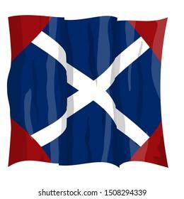 Historic Flag. US Civil War 1860's. Confederate Battle Flag. 39th North Carolina Infantry Regiment. Waving flag with shadows and highlights. Original illustration.