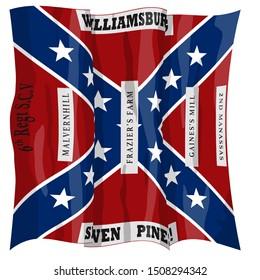 Historic Flag. US Civil War 1860's. Confederate Battle Flag. 6th South Carolina Infantry Regiment. Waving flag with shadows and highlights. Original illustration.