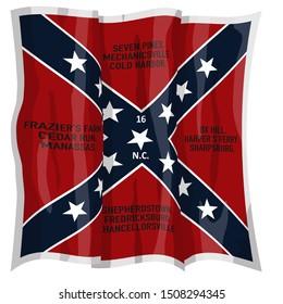 Historic Flag. US Civil War 1860's. Confederate Battle Flag. 16th North Carolina Infantry Regiment. Waving flag with shadows and highlights. Original illustration. White border is part of flag design