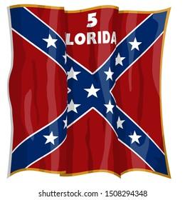 Historic Flag. US Civil War 1860's. Confederate Battle Flag. 5th Florida Infantry Regiment. Waving flag with shadows and highlights. Original illustration.