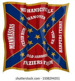 Historic Flag. US Civil War 1860's. Confederate Battle Flag. 18th North Carolina Infantry Regiment. Waving flag with shadows and highlights. Original illustration.