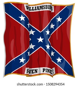 Historic Flag. US Civil War 1860's. Confederate Battle Flag. 4th North Carolina Infantry Regiment. Waving flag with shadows and highlights. Original illustration.
