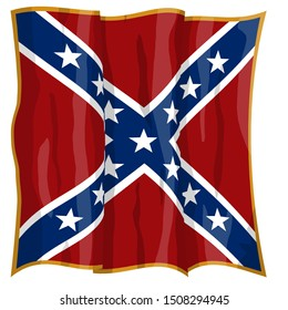 Historic Flag. US Civil War 1860's. Confederate Battle Flag. Army of Northern Virginia. Waving flag with shadows and highlights. Original illustration.