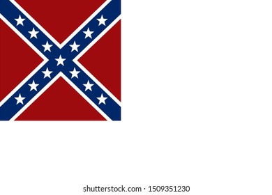 Historic Flag. US Civil War 1860's. Confederate States of America. Second national flag, from 1st May 1963
