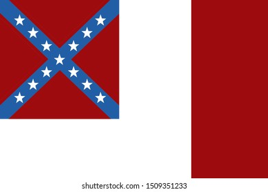 Historic Flag. US Civil War 1860's. Confederate States of America. Third national flag variation.