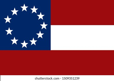 Historic Flag. US Civil War 1860's. Confederate States of America. First national flag. Official design 1861
