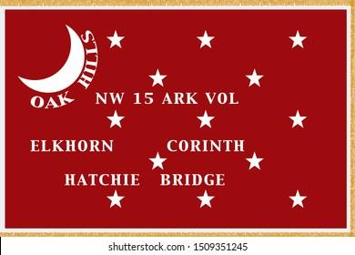 Historic Flag. US Civil War 1860's. Confederate States of America. 15th Arkansas Infantry.