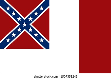 Historic Flag. US Civil War 1860's. Confederate States of America. Third national flag, from 4th March 1865